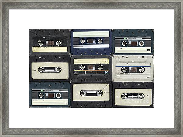 Audio Cassettes. Retro Background Framed Print
