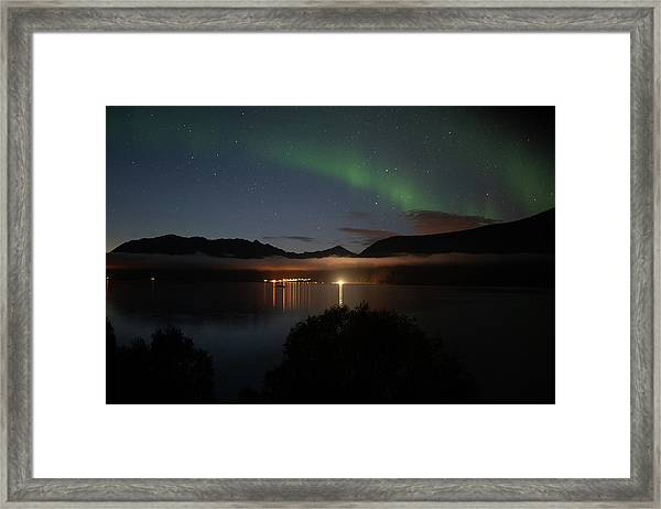 Aurora Northern Polar Light In Night Sky Over Northern Norway Framed Print
