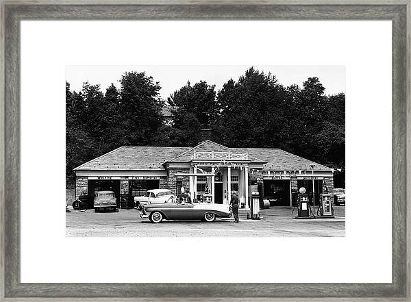 Auto At Gas Station Framed Print