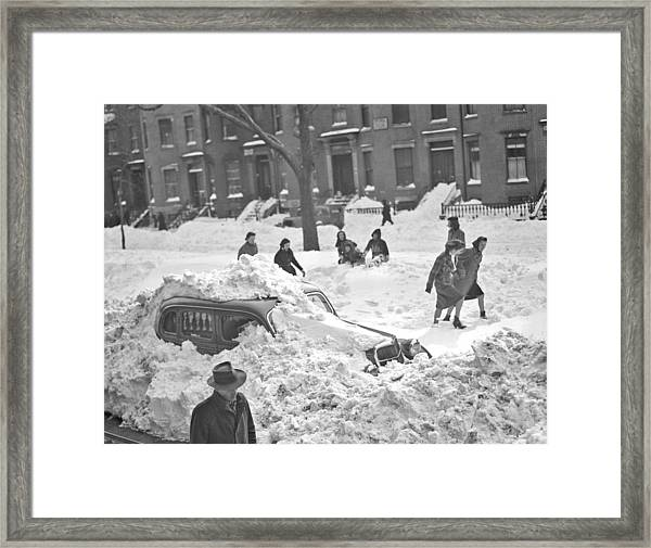 Auto Buried In Snow  Ca  1939 Framed Print