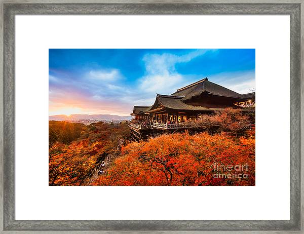 Autumn Color At Kiyomizu-dera Temple In Framed Print