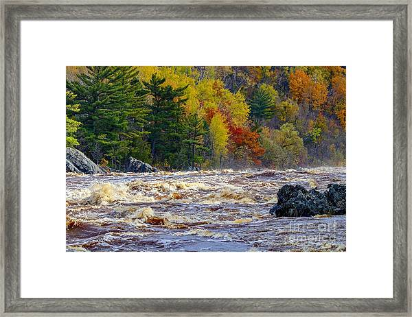 Autumn Colors And Rushing Rapids   Framed Print