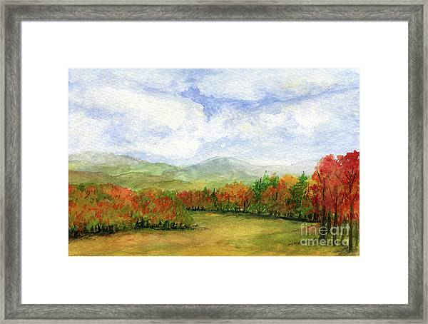 Autumn Day Watercolor Vermont Landscape Framed Print