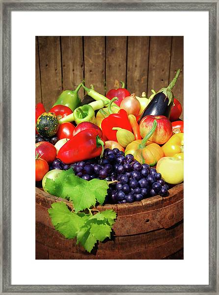 Autumn Fruit And Vegetables Framed Print