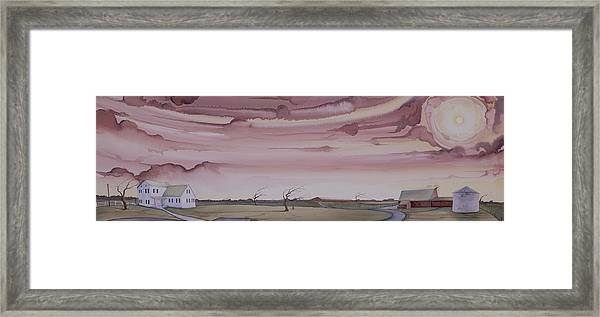 Framed Print featuring the painting Autumn Skies On The Kirby Farm by Scott Kirby