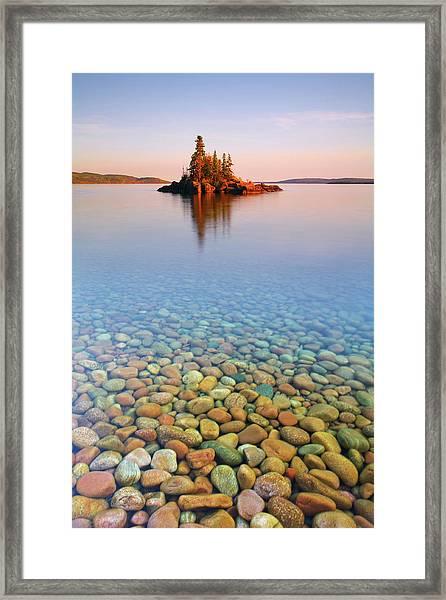 Autumn Sunset On A Tiny Island Framed Print