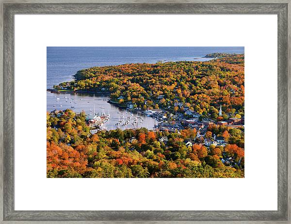 Autumn View Over Small Harbor Town Of Framed Print