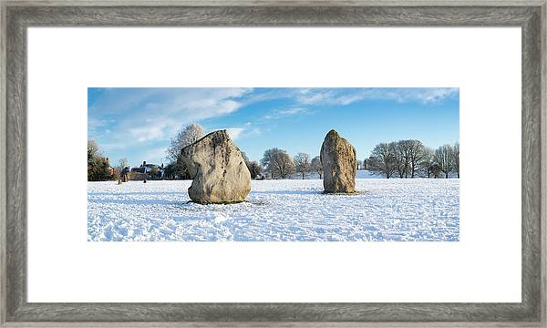 Avebury Stone Circle In The Snow Panoramic Framed Print by Tim Gainey