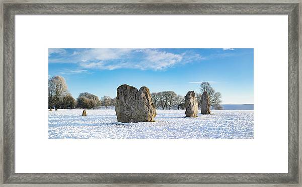 Avebury Stone Circle In The Winter Snow Framed Print by Tim Gainey