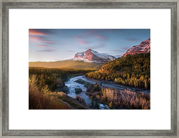 Awakening // Many Glacier // Glacier National Park  Framed Print