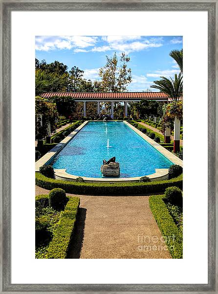 Awesome View Getty Villa Pool  Framed Print
