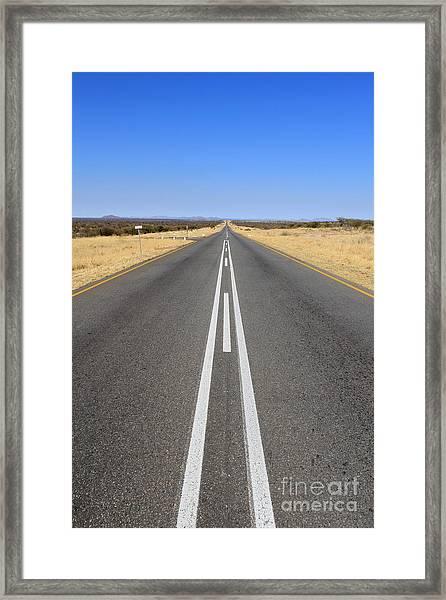 B1 Road In Namibia Heading Toward Framed Print