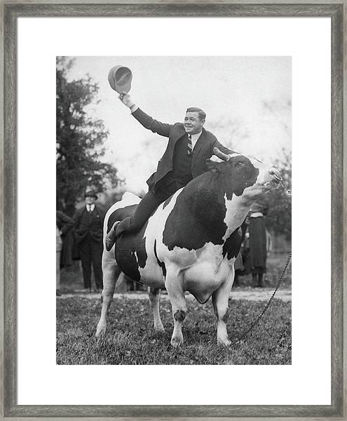 Babe Ruth Astride King Jess Framed Print