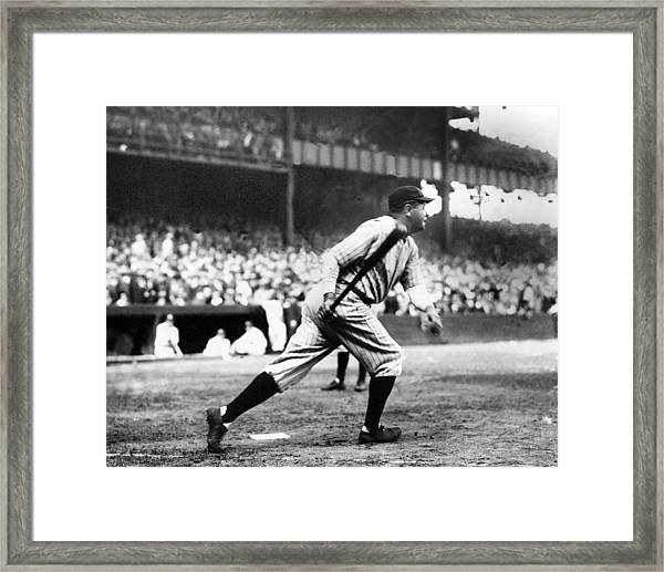 Babe Ruth Batting During The 1926 Framed Print by New York Daily News Archive