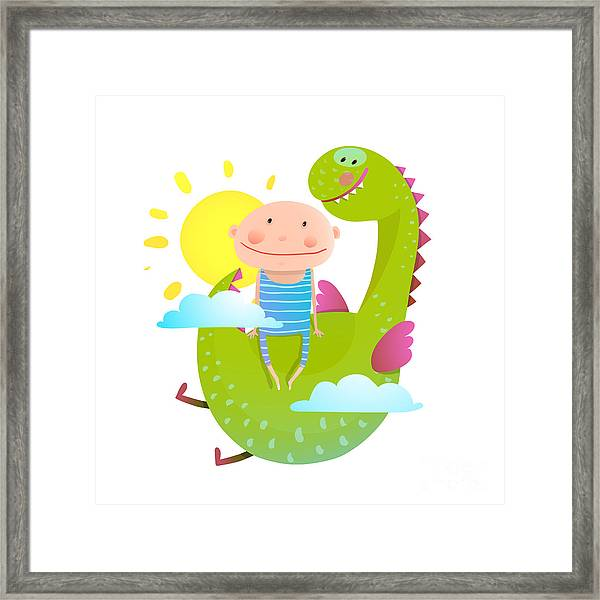Baby And Dragon Cloud Sun Flying Happy Framed Print