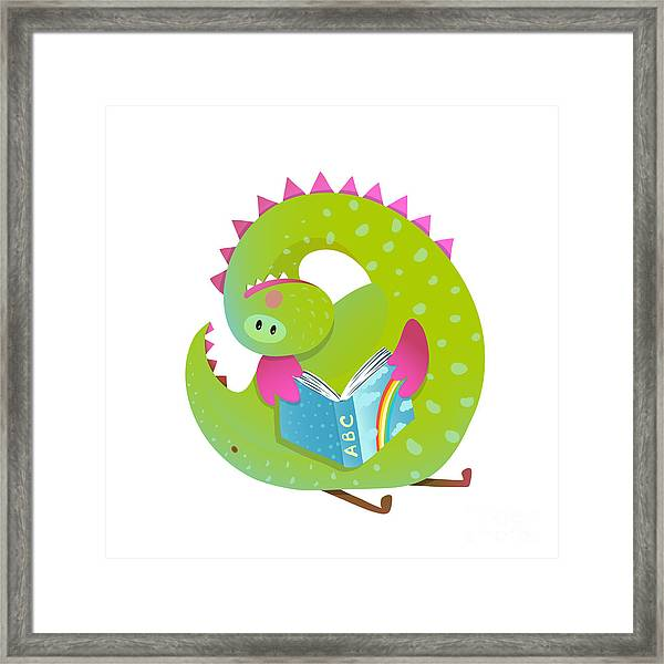 Baby Dragon Reading Book Study Cute Framed Print