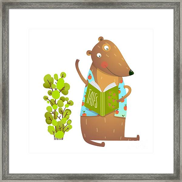 Baby Teddy Bear Character Reading Book Framed Print