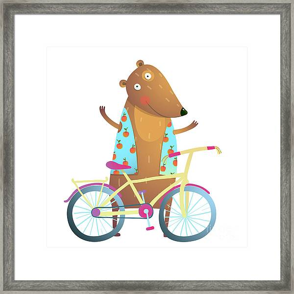 Baby Teddy Bear Character With Bicycle Framed Print