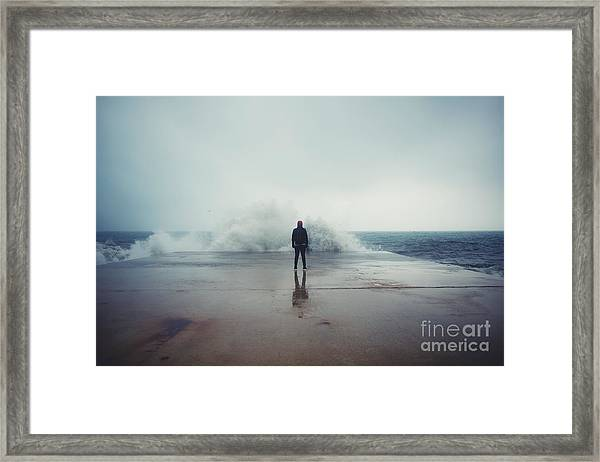 Back View Portrait Of Young Man Framed Print