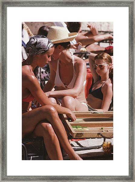 Backgammon By The Pool Framed Print