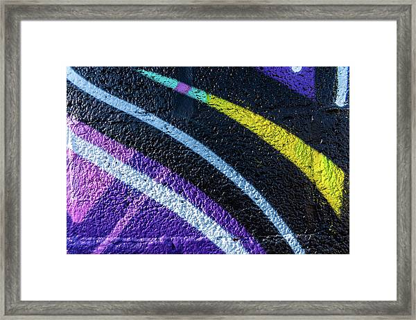 Background With Wall Texture Painted With Colorful Lines. Framed Print