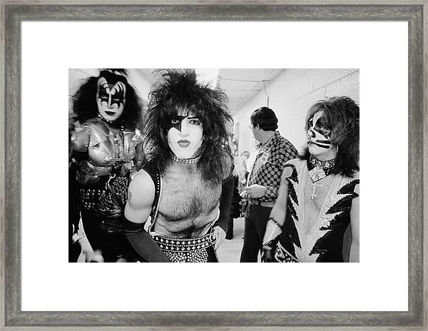 Backstage Kiss Framed Print