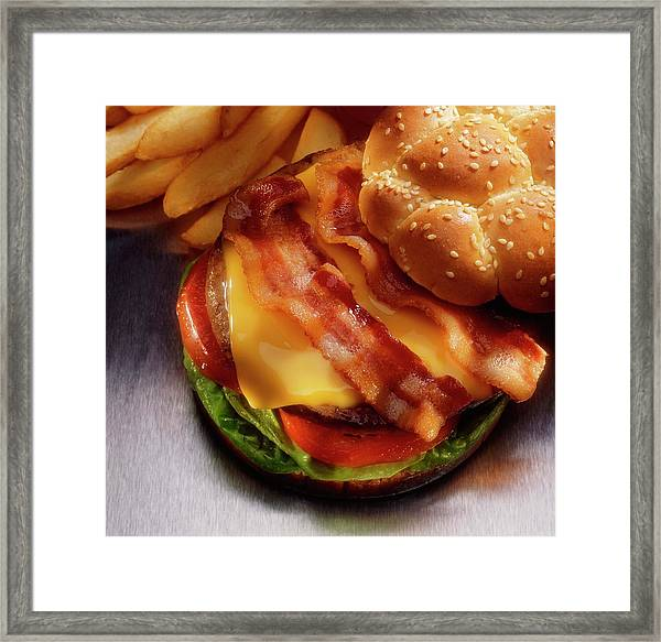 Bacon Cheeseburger With French Fries Framed Print by Jupiterimages