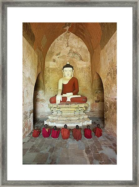 Bagan, Buddhist Monks Sitting In Temple Framed Print