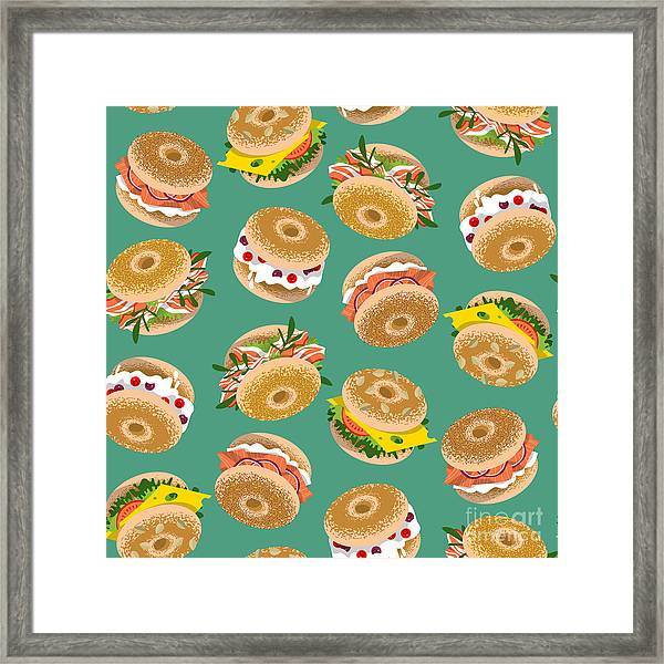 Bagels With Various Topping. Seamless Framed Print