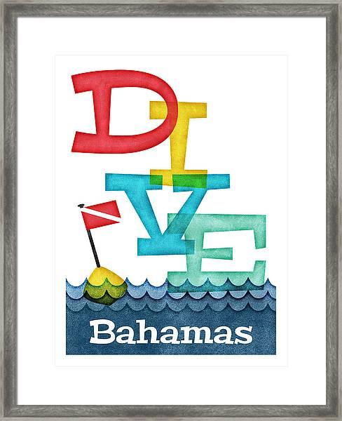 Bahamas Dive - Colorful Scuba Framed Print