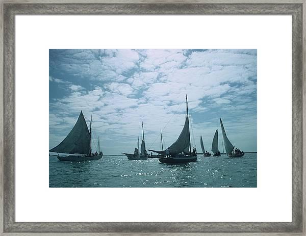 Bahamas Sailing Framed Print by Slim Aarons