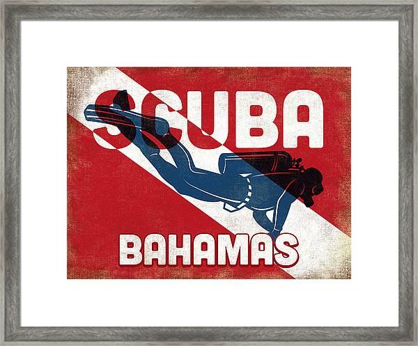 Bahamas Scuba Diver - Blue Retro Framed Print