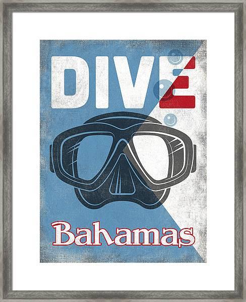 Bahamas Vintage Scuba Diving Mask Framed Print