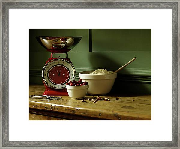 Baking Ingredients Sit On Table Framed Print by Max Oppenheim