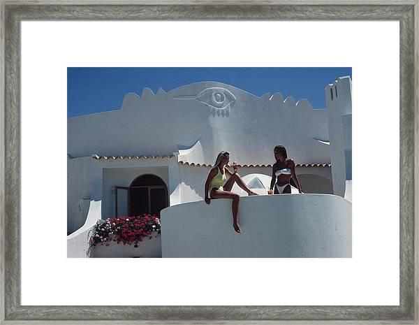 Balcony Bathing Framed Print