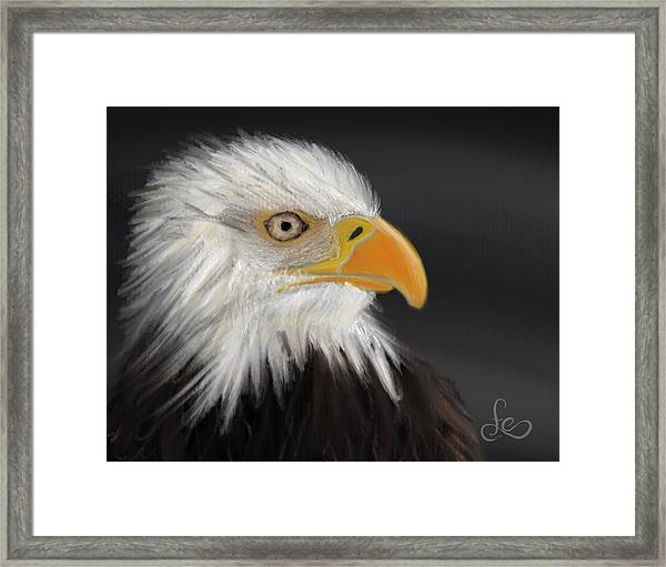 Framed Print featuring the pastel Bald Eagle by Fe Jones