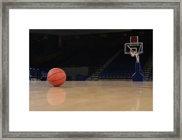 Ball And Basketball Court Framed Print
