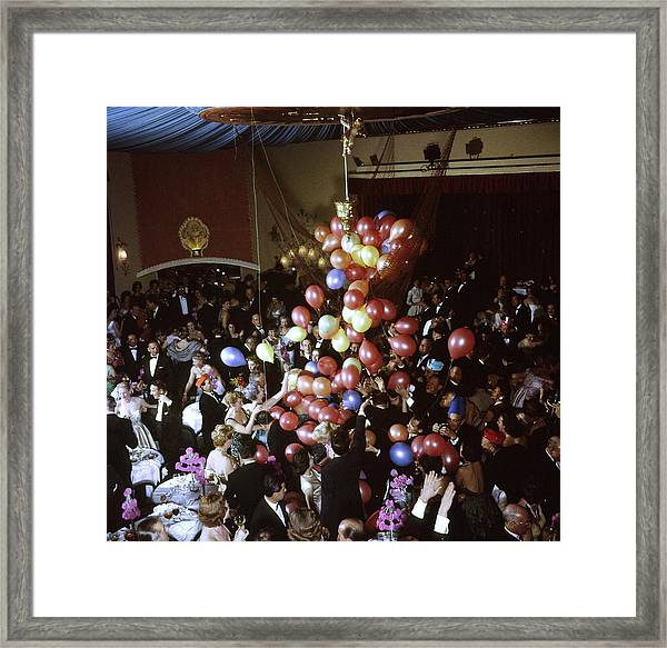 Balloons Dropping On Guests During New Y Framed Print