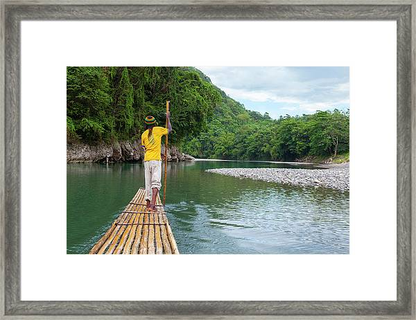 Bamboo Rafting On The Rio Grande Framed Print
