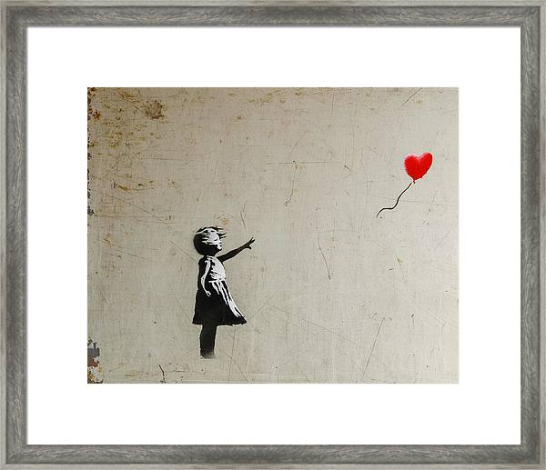 Framed Print featuring the photograph Banksy Balloon Girl Amsterdam by Gigi Ebert