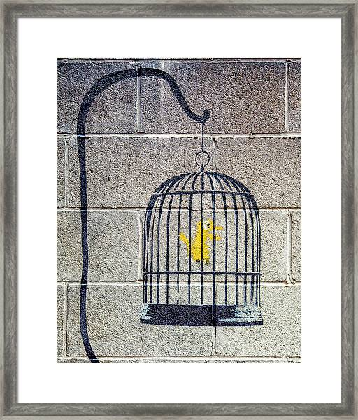 Framed Print featuring the photograph Banksy Bird Cage Detroit by Gigi Ebert