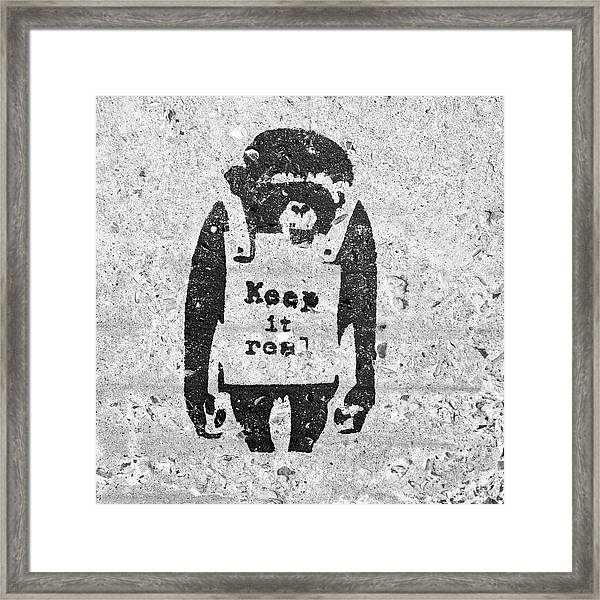 Framed Print featuring the photograph Banksy Chimp Keep It Real by Gigi Ebert