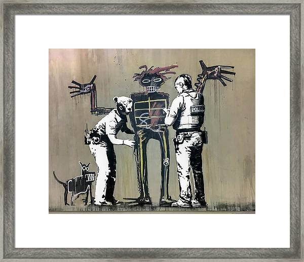 Framed Print featuring the photograph Banksy Coppers Pat Down by Gigi Ebert
