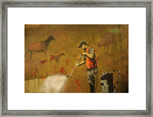 Framed Print featuring the photograph Banksy's Cave Painting Cleaner by Gigi Ebert