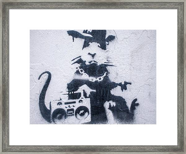 Framed Print featuring the photograph Banksy's Gansta Rat by Gigi Ebert