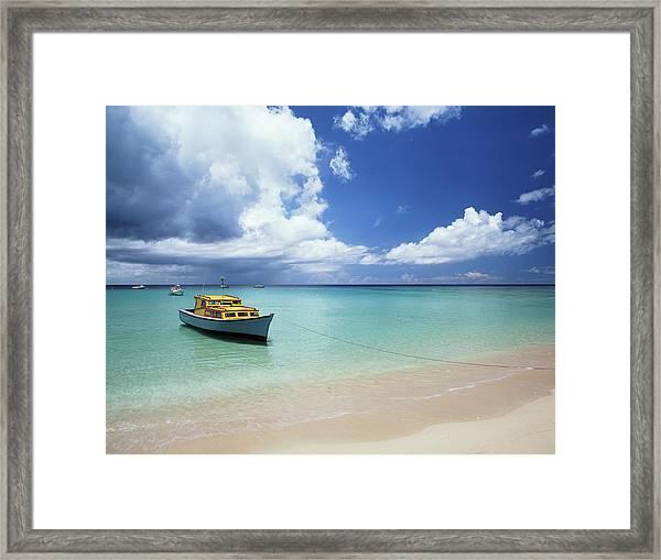 Barbados, Speightstown, Fishing Boat Framed Print