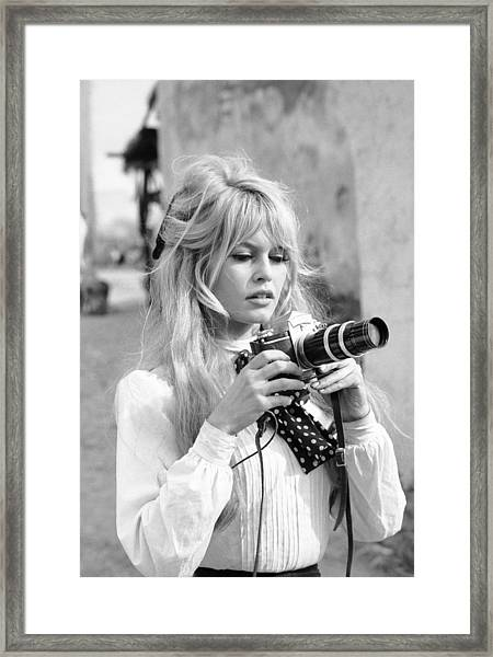 Bardot During Viva Maria Shoot Framed Print