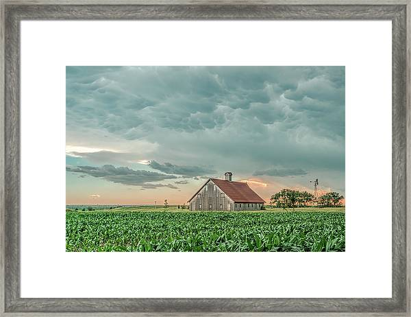 Barn In Sunset Framed Print