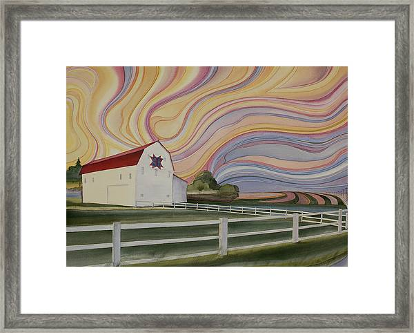 Framed Print featuring the painting Barn On Pretty Prairie by Scott Kirby