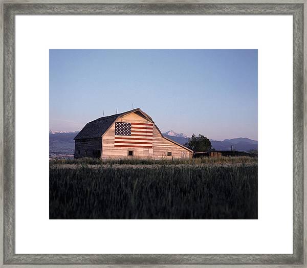 Barn W Us Flag, Co Framed Print by Chris Rogers